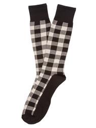 Finefit Cotton Comfort Checkerboard High Socks - Black/Grey Checkerboard - 10-13