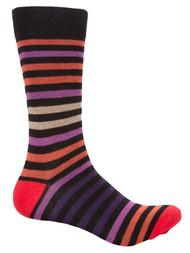 Finefit Cotton Comfort Striped High Socks - Black/Purple/Red - 10-13