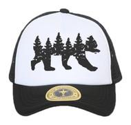Top Headwear Forest Bear Silhouette Adjustable Trucker Hat