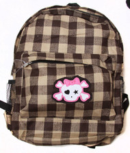 Clover Grey Plaid Backpack - Cute Skull