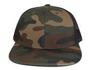 New Style Cotton Style Flat Bill Trucker Mesh Hat Cap - Woodland Camo Green / Black Mesh