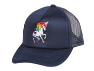 Rainbow Unicorn Foam Trucker Mesh Adjustable Hat - Navy
