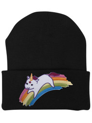 Gravity Trading Cute Rainbow Unicorn Patch Cuffed Beanie