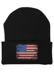 Gravity Trading Tattered USA Flag Patch Cuffed Beanie