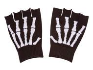 Skeleton Fingerless Black Winter Gloves
