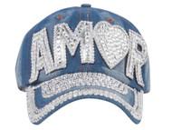 Top Headwear Studded Amor Denim Baseball Cap