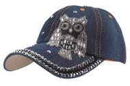 Top Headwear Studded Owl Denim Baseball Cap