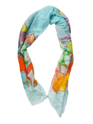 Lava Spring Flowers Long Scarf, Turquoise