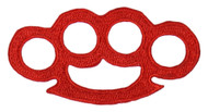 Red Brass Knuckles Patch (3 x 1.5 Inches)