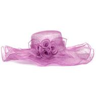 Womens Large Ruffle Edged Floppy Brim Sinamay Sun Hat