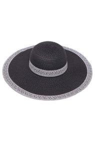 Womens Wide Brim Straw Floppy Sun Hat w/ Houndstooth Band