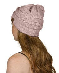 Slouch Knit Beanie Cap Hat, Indie Pink