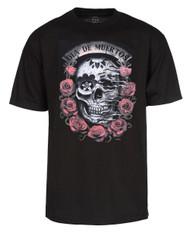 "Men's ""Dia De Muertos""  Skull with Roses T-Shirt - Black"