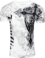Konflic NWT Men's Giant Cross Graphic Fashion MMA Muscle T WHT-2X