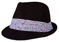 Boho Sheek Black with Flower Print Band Fedora Hat
