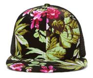 Floral Print Flat Bill Trucker Hat