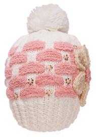 Womens Knitted Beanie w/ Pom - Chekerboard w/ Flower