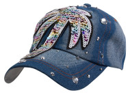 Top Headwear Rainbow Palm Tree Denim Baseball Cap