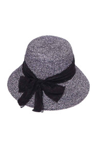 Womens Striped Straw Bucket Hat w/ Ribbon Band