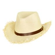 Top Headwear Frayed Edge Paper Braid Cowboy Hat