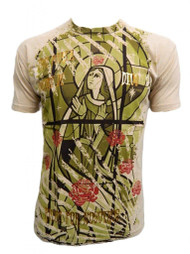Konflic Men's Virgin Mary Stained Window Graphic Fashion MMA T Shirt