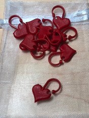 Stitch Markers-Red Hearts