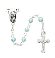 (901BLCB) BLUE PEARL ROSARY IN CROSS BOX