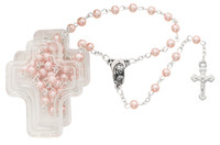 (901PKCB) PINK PEARL ROSARY IN CROSS BOX
