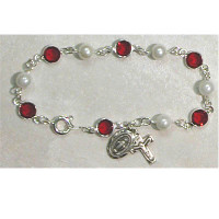 "(BR230) SS 7 1/2"" RED/PEARL BRACELET"