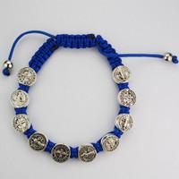 (BR511C) BLUE ST. BENEDICT CORD BRACEL