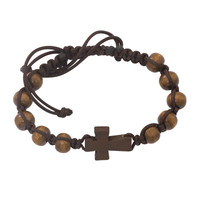 (BR688C) DARK BROWN CROSS BRACELET