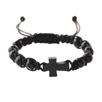 (BR689C) BLACK CORDED CROSS BRACELET