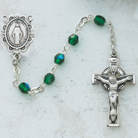 (C49DW) 3MM GREEN IRISH ROSARY