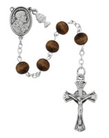 (C67RB) RF 6MM BROWN WOOD ROSARY