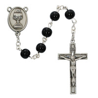 (C73DB) 6MM BLACK GLASS COMM ROSARY