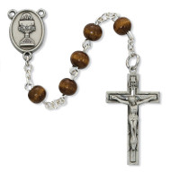 (C76DB) 6MM BROWN WOOD COMM ROSARY