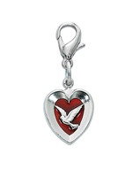 (CL652) RED ENAMEL DOVE/HEART CLIPABLE