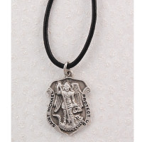 (D414LC) PEWTER ST MICHAEL BADGE WITH