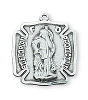 (D424) SMALL PEWTER ST FLORIAN MEDAL