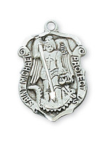 (D425) SMALL PEWTER ST MICHAEL BADGE
