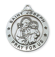 (D575JS) PEWTER ST JOSEPH MEDAL