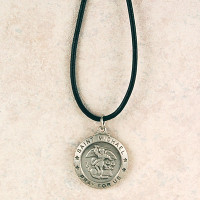 (D575MKLC) PEWTER ST MICHAEL MEDAL WITH