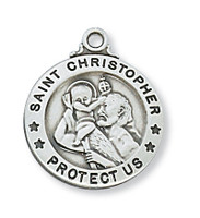 (D600CH) PEWTER ST CHRISTOPHER MEDAL
