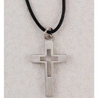 "(D617LC) PEWTER CROSS 18""CORD/CARD"