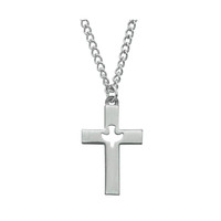 """(D618) PEWTER CROSS WITH 24"""" ENDLESS"""