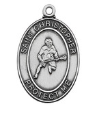 (D675LC) PEWTER OVAL LACROSSE MEDAL