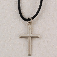 (D7023LC) PEWT CROSS LEATHER CORD/CARD
