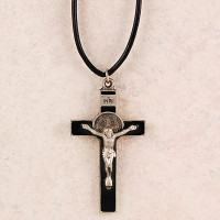 (D9078LC) PEWTER ST BENEDICT  CORD/CAR