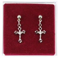 (ERC8017P) RF CRUCIFIX EARRINGS