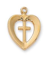 """(J419) G/SS HEART/CROSS 18 CH&BX"""""""